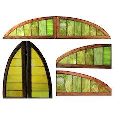 Arched Stained Glass Windows, 1880s Pullman Train Car Windows, Railroad Memorabilia, Transportation Railroadiana