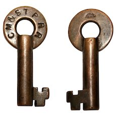 1900s Loeffelholz & Co. Brass Barrel Key, CM&STP RR, Railroadiana