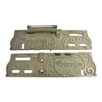 "Two Antique ""The Sturgis"" Autographic Receipt Writer Name Plates"