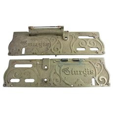"Two Antique ""The Sturgis"" Autographic Receipt Writer Name Plates"