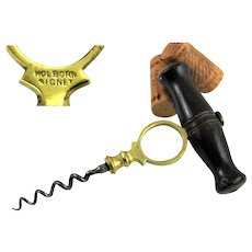Antique Corkscrew, 1876 English Edwin Wolverson's Holborn Signet Corkscrew with Brass Frame
