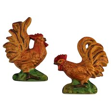 1940s Chalkware Roosters, Kitchen Wall Hangings, Farmhouse Decor