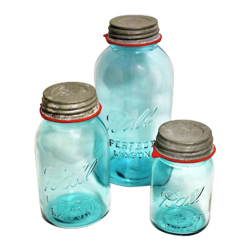 1920s Trio Set of Ball Canning Jars in a wonderful blue color