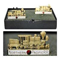 Vintage Brass Northern Pacific Railroad Cufflinks, Railroadiana