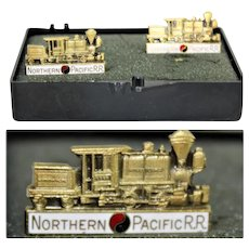Vintage Brass Northern Pacific Railroad Cufflinks, Railroadiana