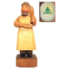 1950s ANRI Hand Carved Wood Doctor Figurine, The Gynecologist