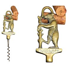 Antique Corkscrew, English Brass Corkscrew the Warwick Bear, Warwickshirer Corkscrew