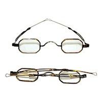1830s Eyeglasses with Pin-in-Slot Telescopic Loop Slide or Jack Downing Glasses