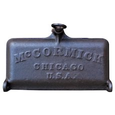 1800s McCormick Tractor Cast Iron Toolbox Lid, Farmhouse Decor