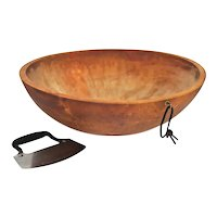 Very Large Vintage Wood Dough Bowl Solid Maple with Dough Knife