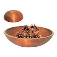 Large Antique Wood Dough Bowl, Solid Maple