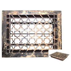 Iron Floor Grate with Damper, Art Deco Design