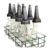 1930s The Master Company Oil Rack and 8- Bottles with Spouts, Petroliana Collectibles