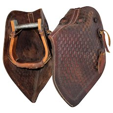 Pair of Leather Long Hang Tapaderos Stirrups