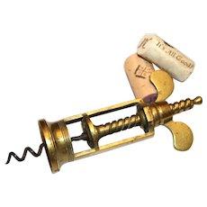 Farrow & Jackson Type Corkscrew, Brass Wing Nut Corkscrew, Wine Bottle Opener
