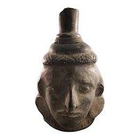 Pre-Colombian Pottery Face Motif Jug