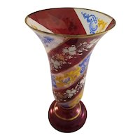 Vintage Bohemian Cranberry and Gilt Glass Vase - Hand Painted