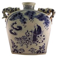 Vintage Chinese Glazed Porcelain Dragon Flask - Handpainted