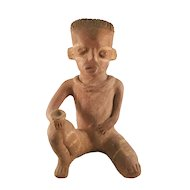 Pre-Colombian Ceramic Figure of a Seated Man