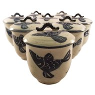 Set of 8 Japanese Porcelain Hand Painted Cups with Lids