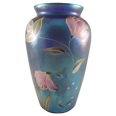 Fenton Art Glass Blue Vase with Flower Paintings - Signed - Limited (821/1850)