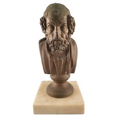 Vintage Metallic Bust of a Bearded Man on a Mabel Base