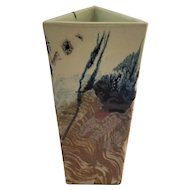 Contemporary Triangular Hand Painted Porcelain Vase - Signed