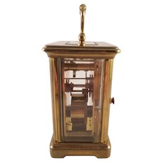 Vintage French Brass Desk Clock With Glass Display Case