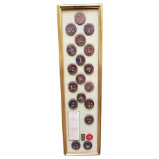 Vintage Chinese Framed Casino Chips in a Vintage Wooden Frame