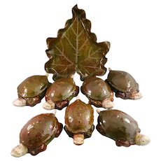 "Set of 8 ""Carole Stupell China"" Porcelain Covered Turtle Bowls with a Leaf Platter"