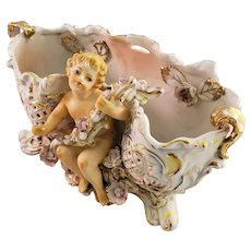 Gorgeous Continental Porcelain Basket with Cherub Figurine - Inscribed
