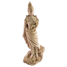 Vintage Chinese Large Blanc De Chine Guanyin Statue - Stamped