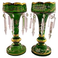 Pair of Vintage Green Glass Painted Luster Candle holders with Prism Bars
