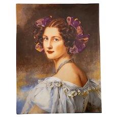 German R.P.M Porcelain Plaque with a Portrait Painting - Signed