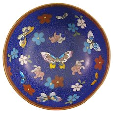 Vintage Asian Cloisonne Footed Bowl - Butterfly Design