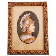 Vintage Painted Porcelain Plaque in Wooden Frame- European Soldier Portrait