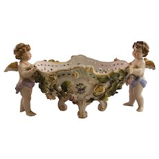 Vintage Painted Porcelain Basket with Two Cherub Figurines - Inscribed