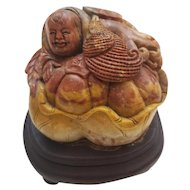 Soapstone Carved Buddha Statue on a Wooden Base
