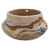 Nemadji Handmade Pottery Clay Pot - Blue/Orange/Brown Swirl Pattern - Stamped