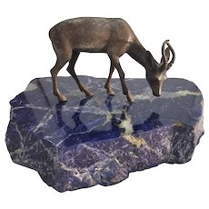Bronze Deer Statue on a Sodalite Base