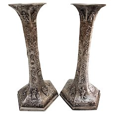 Vintage Pair of Barbour Silver Plated Dutch Repousse Candlesticks - Inscribed