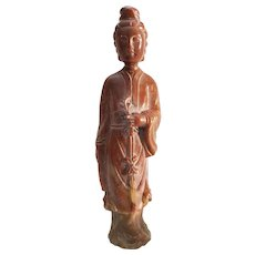 Vintage Chinese Soapstone Carved Quan Yin Statue
