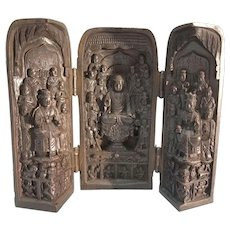 Chinese Wood Carved Vintage Triptych Shrine