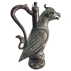 Chinese Archaic Style Bronze Phoenix Jug - Inscribed