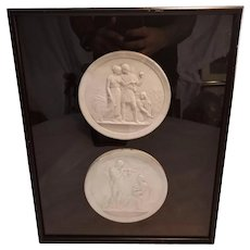 Decorative Framed Pair of Greek Casting Stone Plates