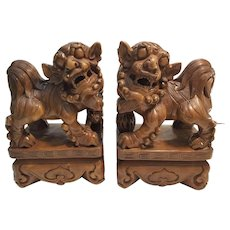Pair of Vintage Chinese Wooden Handcarved Foo Dogs