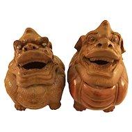 Chinese Vintage Pair of Ceramic Foo Dog Jars