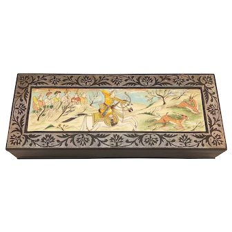 Vintage Handpainted Indian Miniature Metal Trinket Box