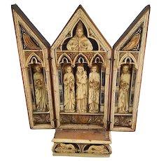 Vintage Hand Carved Wooden Christian Shrine