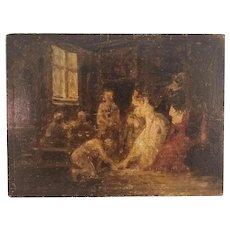 Vintage Oil Painting of an Interior Scene on Wood